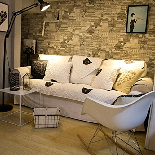 Simple Life 北欧 黒白猫 癒す系 ソファーカバー 綿 100% 布 四季通用 滑り止め マルチカバー 水洗い ファッション ふわふわ 厚手 キルト キルティング 肘なしと肘付きソファーとも適用 出窓 室内マット 正方形/長方形 (90*90cm