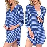 Pinspark Weich Baumwolle Nachthemd mit V Ausschnitt Knopfe Sexy Nachthemd Schlafnachthemd Damen Lang Gestreift Sleepshirt Mit Knopfleiste Für Schwangere Und Stillzeit Hellblau S