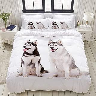 TARTINY Duvet Cover Set, Furry Arctic Doggies Husky Whelp Pedigree Pet Happy Siberian Mammal, Custom 3 Piece Bedding Set with 2 Pillow Shams, Queen/Full Size
