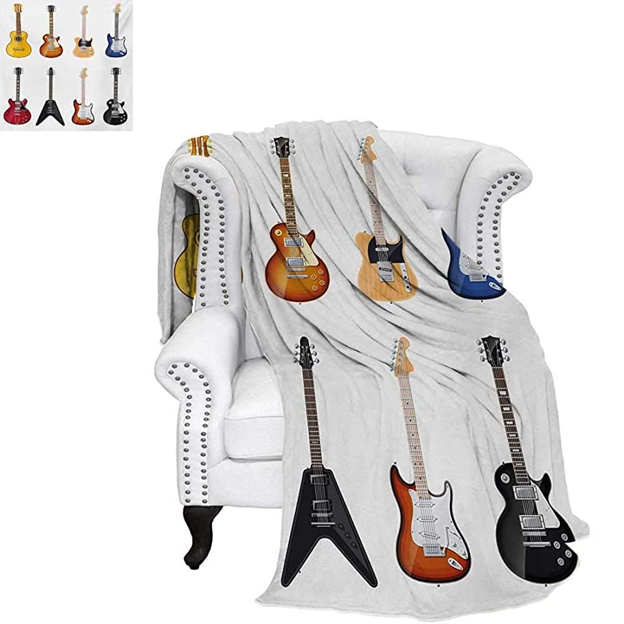warmfamily Guitar Summer Quilt Comforter A Wide Variety of String Instruments Realistic Musical Pattern Jazz Blues Acoustic Digital Printing Blanket 60