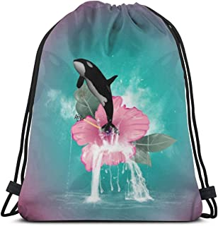 Orca Jumping Out Of A Flower Drawstring Backpack Bag Unisex Gym Sack Pack Sport String Bag Christmas Gift Beach Bag