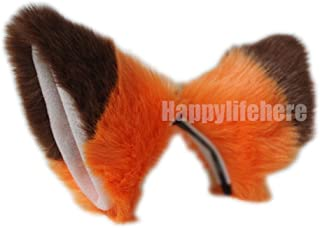 Cat Fox Ears Kitty Costume Halloween Cosplay Fancy Dress Many colors Kits (Orange with Brown Tips (Skin inside))