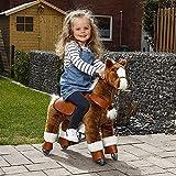 Reitpferd Kinder mit Rollen Spielzeug Pferd Plüschtier braun Bremse Schaukelpferd lengbarer Kopf Pony