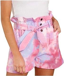 Coolred Women Slit Pocket Tie-Dye Bermuda Shorts Lounge Over Waist Shorts