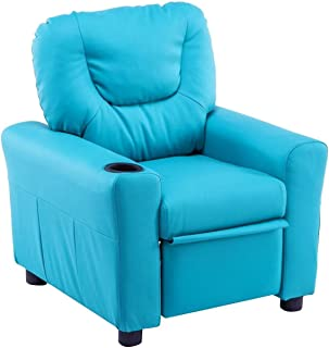 MCombo Kids Recliner Armchair Children's Furniture Sofa Seat Couch Chair w/Cup Holder 7240 (Blue)