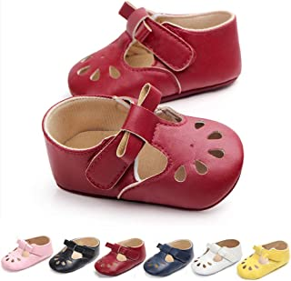 RVROVIC Baby Girls Mary Jane Flats Princess Christening Baptism Infant Crib Shoes Toddler Prewalkers