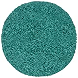 Chardin Home - Chenille Shaggy Round Cotton Bathroom Rug with Transparent Latex Anti Skid Spray, 24 Inch Round, Aqua Turquoise