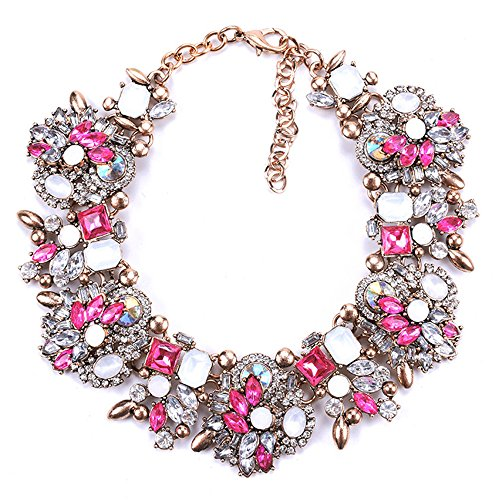 Bib Statement Necklace Colorful Glass Crystal Collar Choker Necklace for Women Fashion Accessories (Rose Pink+White)