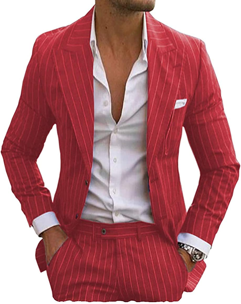 Men's Pinstripe Suits 2 Pieces Slim Fit Peaked Lapel Groomsmen Tuxedos for Wedding