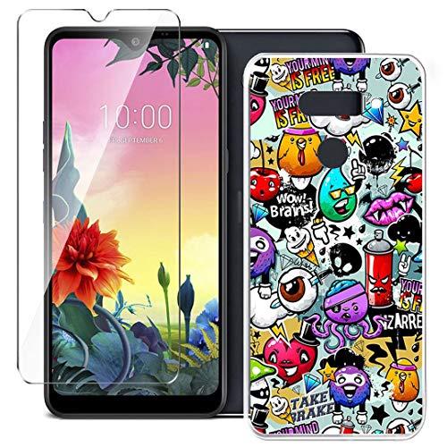HYMY Hülle für LG K50S Smartphone + 1 x Schutzfolie Panzerglas - Transparent Schutzhülle TPU Handytasche Tasche Durchsichtig Klar Silikon Hülle für LG K50S (6.5