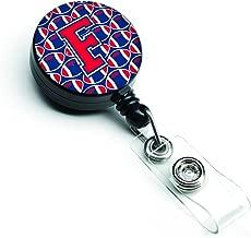 Caroline' s Treasures cj1076-fbr حرف F كرة القدم Harvard قرمزي & يال أزرق بكرة شارة قابل للطي ، متعددة الألوان