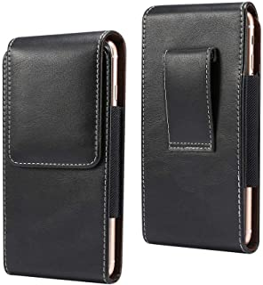 DFV mobile - New Design Vertical Leather Holster with Belt Loop for Infinix S5 Lite (2019) - Black
