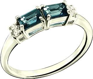 RB Gems Sterling Silver 925 Ring Genuine GEMS (London Blue Topaz, Garnet) 0.92 Ct Rhodium-Plated Finish