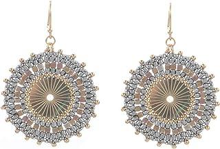 Drop Earrings for Women, 2 Pairs Pure Handmade Earrings Bohemian Acrylic Dangle Beads Earrings Best Christmas Gift