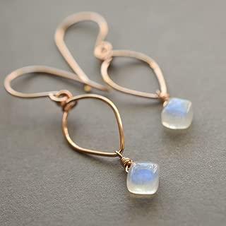 Rainbow Moonstone Earrings Lotus Loop 14kt Rose Gold-Filled June Birthstone