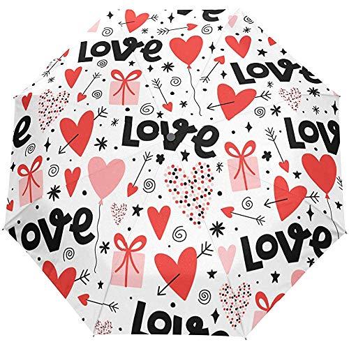 San Valentino Love Red Hearts Ombrello con apertura automatica Ombrello per pioggia solare Ombrello automatico compatto anti UV
