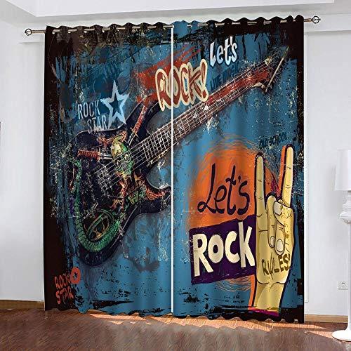 IZYLWZ Mörkläggningsgardin 2 paneler set elektrisk gitarr graffiti mörkläggning öljett gardiner supermjuk värmeisolerad fönsterbehandling draperier för sovrum vardagsrum barnkammare B 118 x L 106