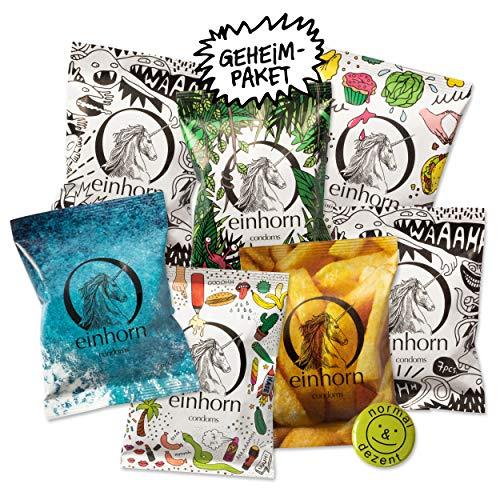 GEHEIM - einhorn Kondome JAHRESVORRAT - neutrale Verpackung - 7 Packungen Kondome a 7 Stück (49) vegan, hormonfrei, feucht, 100% geprüft