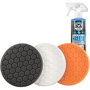 "Chemical Guys HEX_3KIT_5 5.5"" Buffing Pad Sampler Kit, 4 Items - (1) 16 oz Polishing Pad Cleaner + (3) 5.5"" Buffing Pads that Work with 5"" Backing Plates"