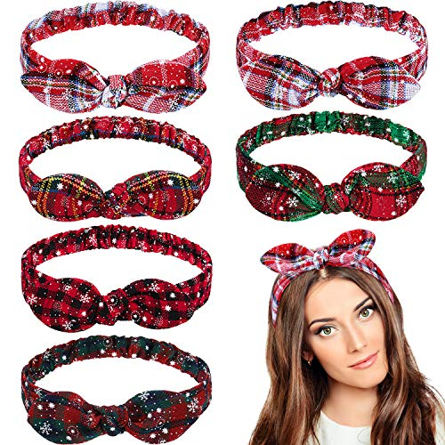 Christmas Headbands Red Plaid Headbands Snowflake Bow Bandana Knot Headwrap Retro Elastic Rabbit Ear Hairband for Girls and Women Christmas Party