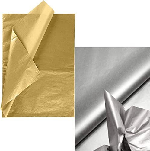 ECO SARRAS Metallic Gold and Silver Set Multi Purpose Wrapping Paper 20x20 20X26 Inches USES Gift Wrapping Stuffing Boxes Handbags Shoes ETC 40 Sheets 20x2