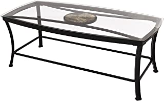 Joveco Black Curved Metal Frame and Tempered Glass Table Top Rectangular Coffee Table with Circular Center Design