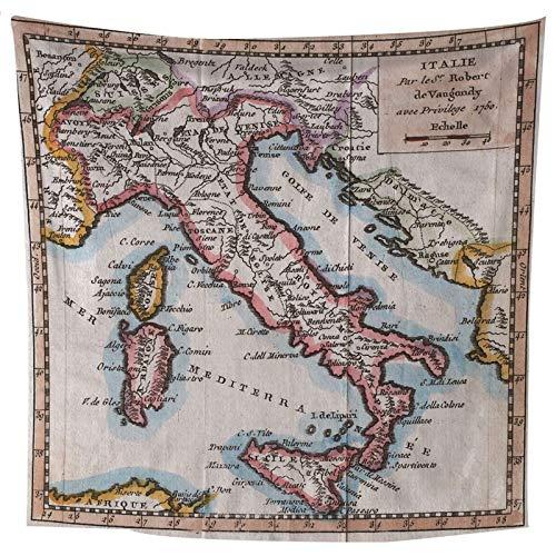 ANAZOZ Tapices de Tela Poliéster Tapiz Mapa de Italia Azul Naranja Caqui Tapiz 150x150CM