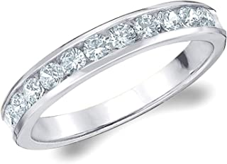 1/2 CT Classic Channel-Set Lab Grown Diamond Ring in 10K Gold, Sparkling in E-F Color and VS Clarity