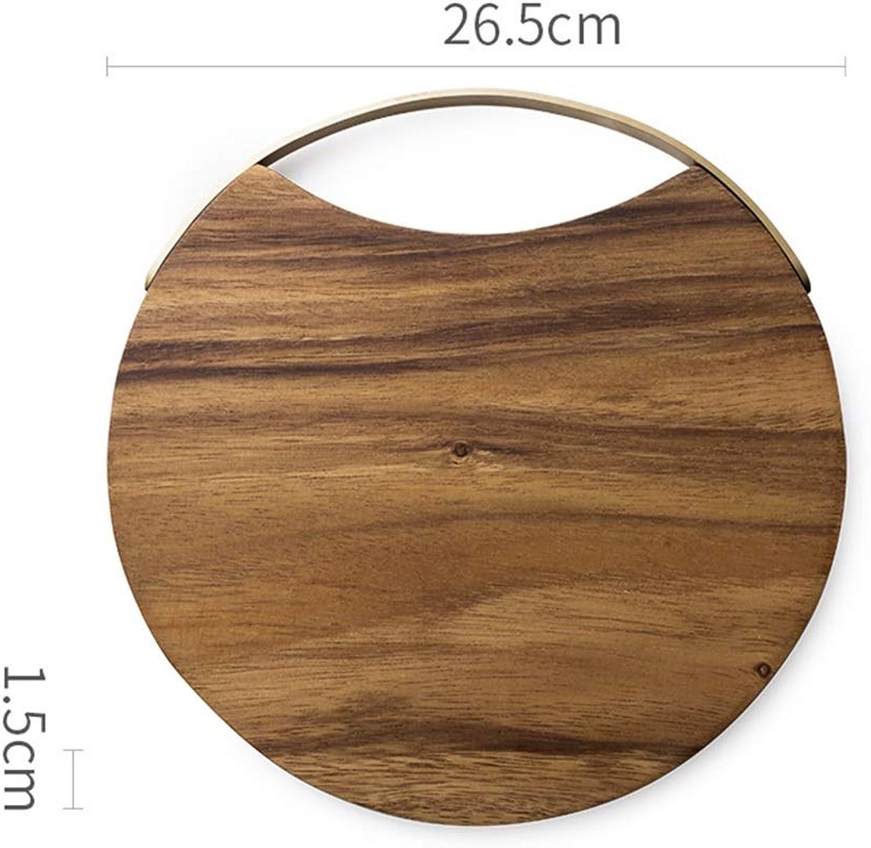 Plateau-multi-fonctions Plateau de service à thé multi-taille antidérapant rond en bois naturel anti-chute (Couleur   B)