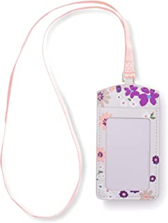 Kate Spade New York ID Badge Holder with Lanyard, Vegan Leather Name Tag Case with Clear Window and Card Slot for Work/School/Travel, Pacific Petals