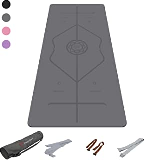 FrenzyBird 5mm Thick PU Natural Rubber Yoga Mat with Body Alignment System, Oxford Mat Bag and Strap, Non Slip,  Wet Absorbance, Free of PVC and Other Harmful Chemicals, for All Types of Yoga and Pilates