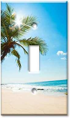 Art Plates 1-Gang Toggle OVERSIZED Switch Plate/OVER SIZE Wall Plate - Palm Tree and Beach