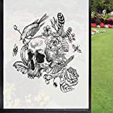 Gothic Frosted Window Film Frosted Glass Film,Skull Roses Flower Buds Feathers Birds and Bees Sketchy Illustration Privacy Door for Home Office UV Protection,Charcoal Grey and White 24' x 36'