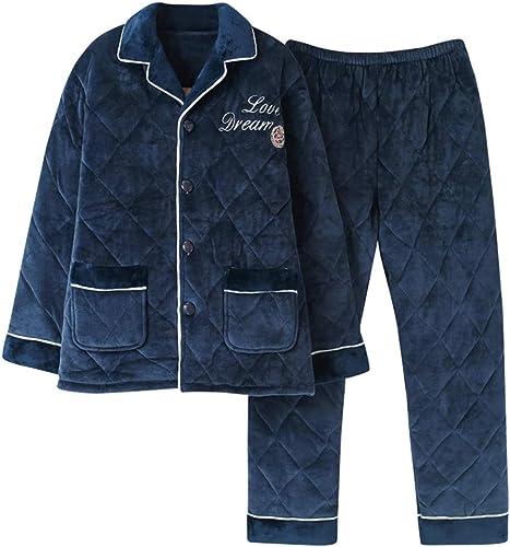 MEIXIA Pyjama Pyjamas en Coton à Manches Longues en Coton épais