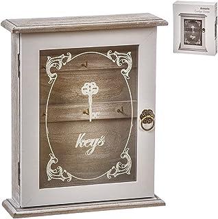 TIENDA EURASIA® Boîte en bois pour accrocher clés – Armoire décorative pour clés (Keys blanc 20 x 6 x 24)
