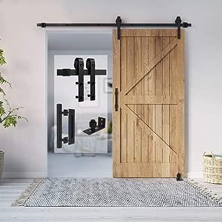 Homlux 6.6ft Heavy Duty Sturdy Sliding Barn Door Hardware Kit Single Door Whole Set Include 1x Square Door Handle, 1x Floor Guide - Fit 1 3/8-1 3/4