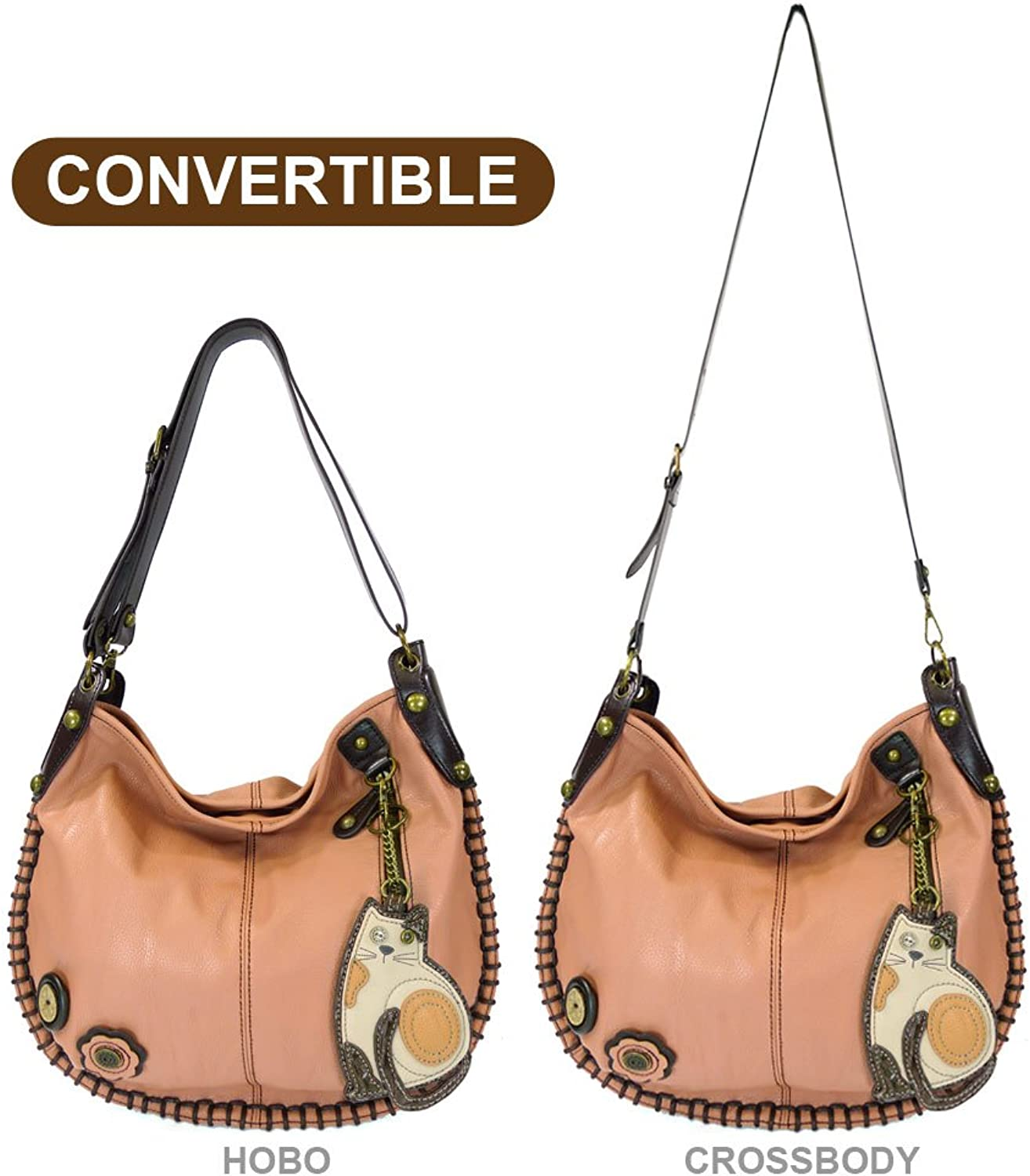 Chala Hobo Crossbody Large Tote Bag LAZZY CAT Vegan leather PINK Congreenible