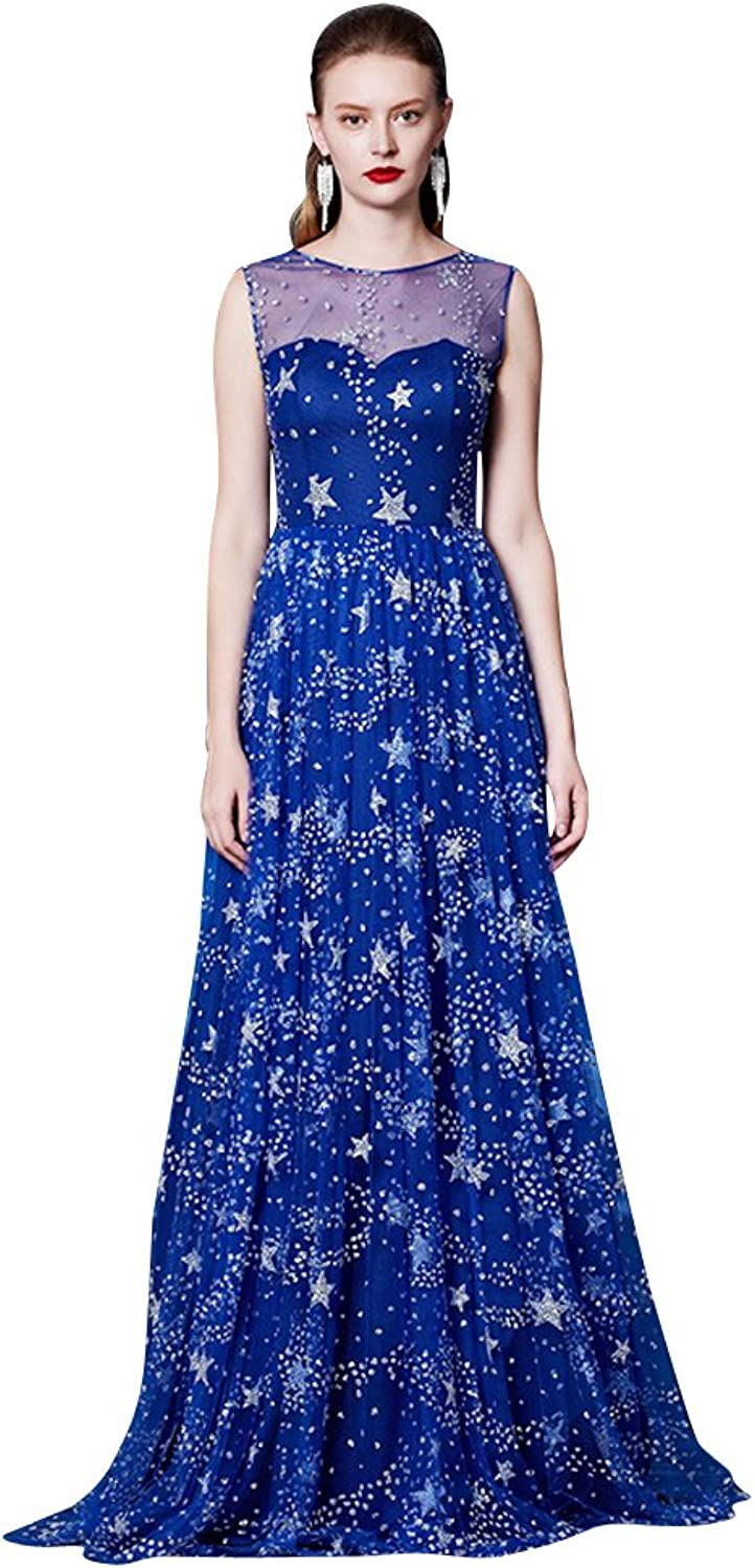 BeautyEmily Layers Sequin ONeck Sleeveless Star Tulle Evening Dress
