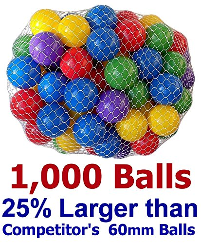 CMS Pack of 1000 Large Multi-Color 2.5' 65mm Ball Pit Balls - Crush-Proof Air-Filled Phthalate/BPA Free Non-Toxic Non-Recycled Plastic (Pack of 1,000, 5-Colors)