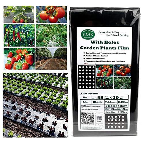 Bouncevi Agricultural Plant Kunststofffolie (95 Cm 10 M, 5 Löcher, 0,02 Mm) Perforierte PE-Folie, Wetterfest Und Widerstandsfähig - Kein Werkzeug Erforderlich