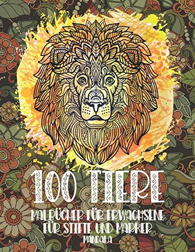 Malbücher für Erwachsene für Stifte und Marker - Mandala - 100 Tiere