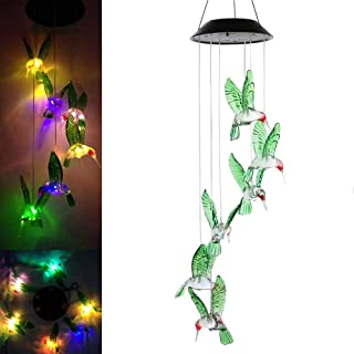LED Solar Hummingbird Wind Chime Light,Outdoor Waterproof Multi-Color Solar Powered Mobile Wind Spinner String Light for Home Party Night Garden Decoration