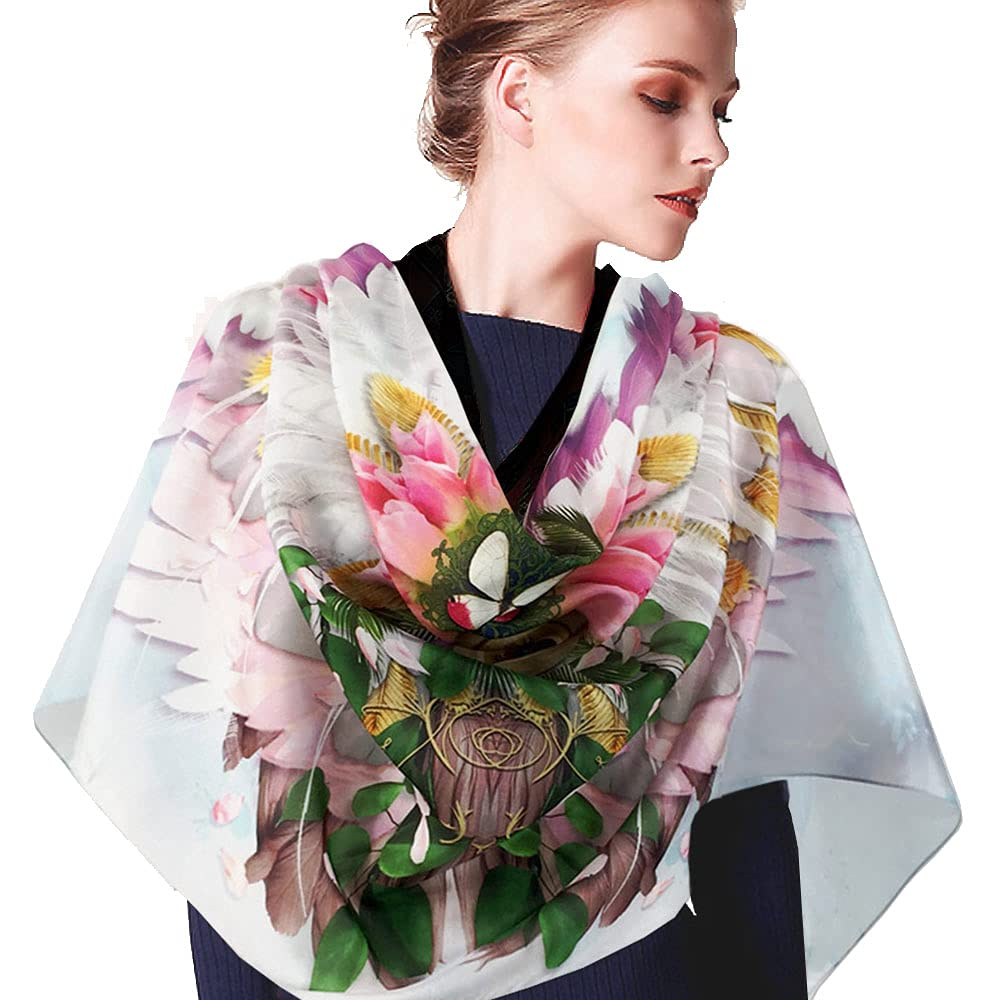 Pure Silk Ranking TOP19 El Paso Mall Wearable Art Handmade Bird Wing An Pink Scarf. Feather