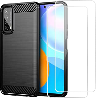 Reshias Funda para Huawei P Smart 2021 + [2 Pack] Cristal Templado Protector de Pantalla,Negro Suave TPU Gel Silicona Anti...