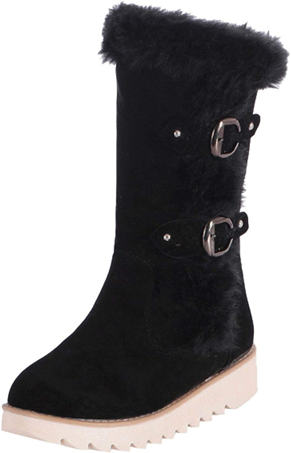 Spinning Non-Slip Boot shoes Suede Round Toe Buckle Strap Flat shoes Middle Tube Boot Black