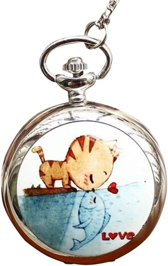 Infinite U Cat NEW and Fish Enamel Big Mirr with Pocket Watch Quartz Phoenix Mall