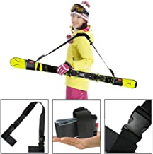 Mounchain Ski Carrier Strap and Pole Carrier Sling Strap Thick and Strong Ski Shoulder Carrier with Cushioned Magic Sticker Adjustable Ski Accessory for Comfortable & Safety