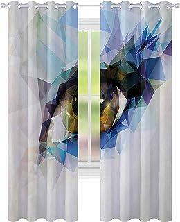 Brusreducerande fönsterdraperier, kvinnans öga med polygonala trianglar effekt konstnärligt modernt geometriskt färgglatt ...