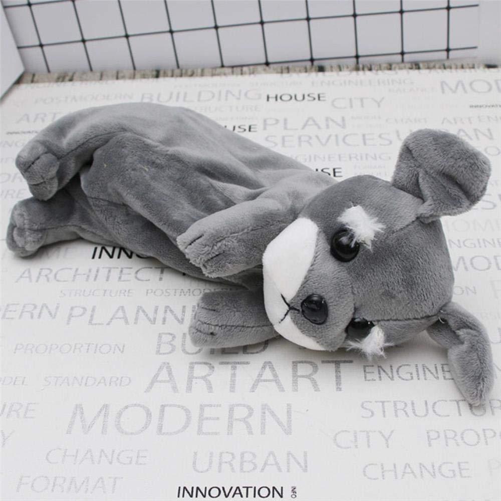 Estuche de felpa para lápices Kawaii, diseño de cachorro de peluche, ideal para la escuela, la oficina, para niños, regalo de Navidad, color gris: Amazon.es: Oficina y papelería
