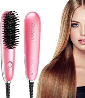 Liaboe Straightener Brush, Mini Travel Size Hair Straightening Brush Negative Ion, Ceramic Heat Brush with LED Display Auto Temperature Lock, Anti-Scald Straightening Comb for All Hair Styling Types
